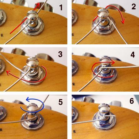 Как зафиксировать струну узлом на колке акустической гитары